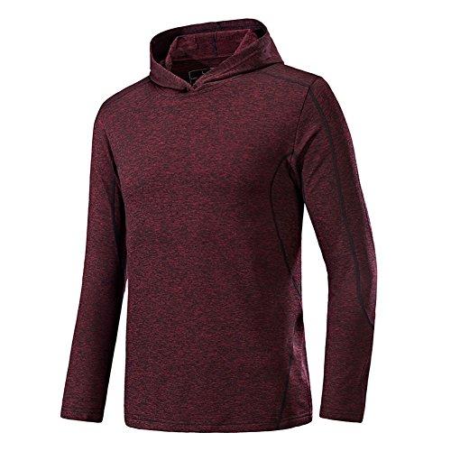 Hankyky Herren Sweatshirt Workout Pullover Hoodies Langarm-Kapuzen Schnell Trocknend Sportswear für Lauftraining Ausbildung Fitness (Langarm-ausbildung Leichtes)