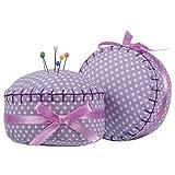 neoviva Floral Stoff beschichtet vollständig Gepolsterte Nadelkissen in Cupcake Form mit Satinband Knoten, für lange Nadel Aufbewahrung, Textil, Polka Dots Bright Purple, 8.5(L)x8.5(W)x5(H) CM