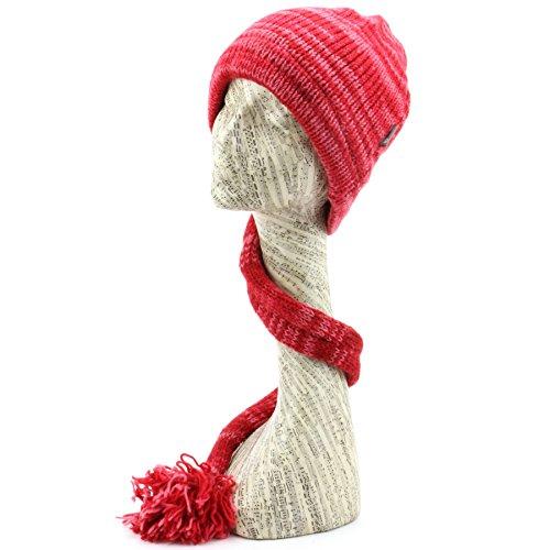 LOUDelephant 'Tinky Winky'en laine Space Dye queue Bonnet à doublure polaire - Red Space Dye