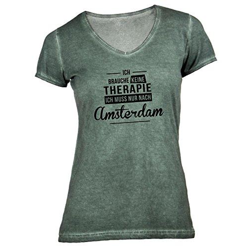 Damen T-Shirt V-Ausschnitt - Ich Brauche Keine Therapie Amsterdam - Therapy Urlaub Holland Olive