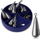 Storfisk fishing & more 15 Stück Birnenbleie mit Wirbel Bleigewichte in praktischer Spenderbox zum...