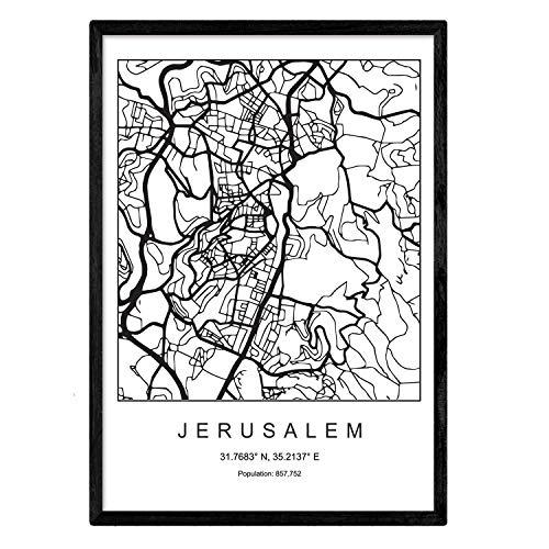 Nacnic Stadtplan Blatt Jerusalem skandinavischen Stil in Schwarz und Weiß. Plakatrahmen A4 Bedruckte Papier Keine 250 gr. Gemälde, Drucke und Poster für Wohnzimmer und Schlafzimmer