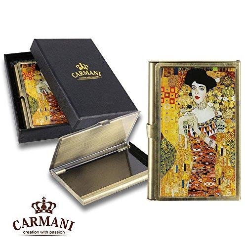 Carmani - Messing Metall, Geschäftsleben, Name, Kredit, ID Card Organizer, Card Case mit Gustav Klimt \'Adele\'