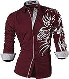 Sportrendy Herren Freizeit Hemden Slim Button Down Long Sleeves Dress Shirts Tops JZS043 WineRed L