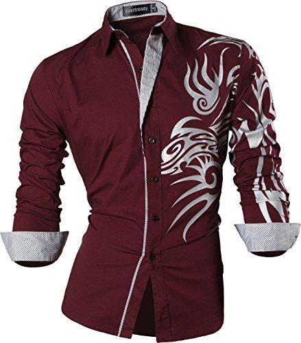 Sportrendy Herren Freizeit Hemden Slim Button Down Long Sleeves Dress Shirts Tops MFN2_JZS041 (USA XL (Chest 119-122cm), JZS043_Winered)