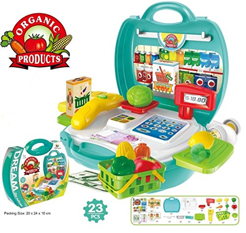 Blossom Bring Along Organic Products Shopping Suitcase Set - 23 Pieces Toy for Kids, Multi Color