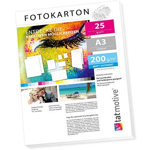 TATMOTIVE FA3200M25 Fotokarton Fotopapier 200g matt weiß/Laserdrucker/DIN A3 / Beidseitig bedruckbar / 25 Blatt