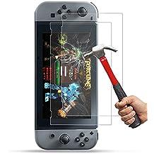 [2-Unidades] 2017 Nintendo Switch Protector de Pantalla Hepooya Nintendo Switch Cristal Templado para Nintendo Switch Cristal Protector [Alta Definicion] [ sin Burbujas] [ 9H Dureza] [Ultra-trasparente] [Anti-golpe] [Ajuste Perfecto] Pantalla Nintendo Switch 2017