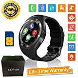 SEPVER Smartwatch Smart Watch Rund mit SIM-Karte Slot Touchscreen Fitness Uhr Intelligente Armbanduhr Fitness Tracker Sport Uhr Kompatibel mit Android Phone iPhone für Damen Herren Kinder (Schwarz)