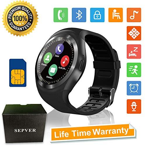 SEPVER Smartwatch Smart Watch Rund mit SIM-Karte Slot Touchscreen Fitness Uhr Intelligente Armbanduhr Fitness Tracker Sport Uhr Kompatibel mit Android Phone iPhone für Damen Herren Kinder (Schwarz)