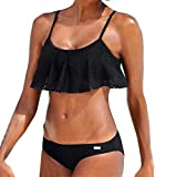 Damen Bikini Sets Hffan Frauen Bandage Push Up Halter Padded BH mit Sexy Rüschen aus Schulter Zweiteilige Strandkleidung Bademode + Hotpants Boxershorts Reizwäsche Thongs G-String (Schwarz, S)