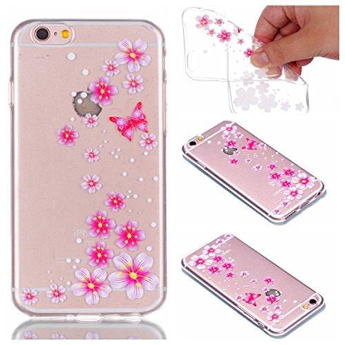 iPhone 6S Hülle, Voguecase Silikon Schutzhülle / Case / Cover / Hülle / TPU + PC Gel Skin für Apple iPhone 6/6S 4.7(Bunt Teppich 06) + Gratis Universal Eingabestift Rot Blume/Schmetterling 09