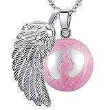 BOLA Collar de embarazo colgante campana Harmony Ball'Llamador de ángeles ' Joya musical para embarazadas de maternidad con cadena de alas de ángel y bola (114 CM, ROSE.2-ARGENT)