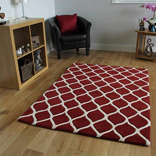 The Rug House Athena, luxuriöser Super-Weicher handgeschnittener Flechtteppich in Rot & Creme aus 100% Wolle in 3 Größen