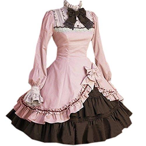 Partiss Damen Stehkragen Unregelmaessiges Schleife Sweet Langarm Lolita Kleider,XL,Pink