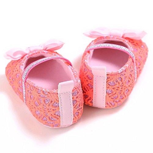 Baby Schuhe Auxma Baby Bowknot Anti-Rutsch-Schuhe Kleinkind Schuhe Pantoffel für 3-12 Monate (11 3-6 M, Rosa) Rot