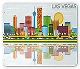 Tappetino per mouse di Las Vegas, Skyline Cartoonish di Nevada City Edifici architettonici per il pomeriggio moderno, Tappetino per mouse non rettangolare in gomma antiscivolo di dimensioni standard,