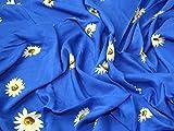 Floral Print Viskose Kleid Stoff blau–Meterware
