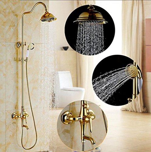 Preisvergleich Produktbild Caribou Im europäischen Stil Vergoldet Badezimmer Dusche System aus massivem Messing Badezimmer Luxus Mixer Duschkombination