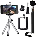 3in1 Accessori Selfie Stick Monopiede telescopico + Mini Treppiedi + Telefono Supporto Per iPhone 6 6 plus 5S 5, 4s Galaxy S5 S4 GoPro Hero 2 3 3+ 4 OS091