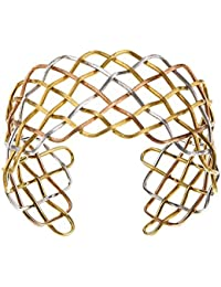18ct Gold Braided Cuff Bracelet Tricolor Satin Yel Wht Pink Finish Matt Mesh