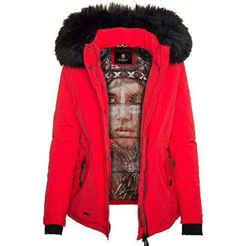 Marikoo Damen Winter Jacke kurz Parka mit abnehmbarem Fellkragen B356