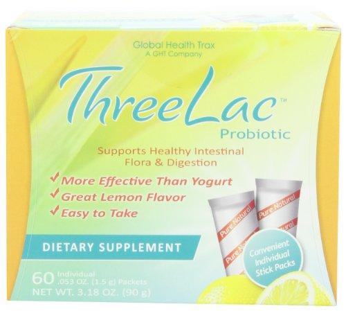 Global Health Traxe - Threelac Probiotique, arôme citron - 60 sachets de 1,5g