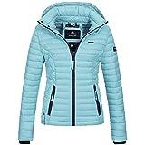 Marikoo SAMTPFOTE Damen Stepp Jacke Daunen Look gesteppt Übergang XS-XXL 11-Farben, Größe:XS;Farbe:Hellblau