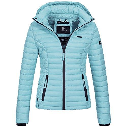 Marikoo SAMTPFOTE Damen Stepp Jacke Daunen Look gesteppt Übergang XS-XXL 11-Farben, Größe:L;Farbe:Hellblau