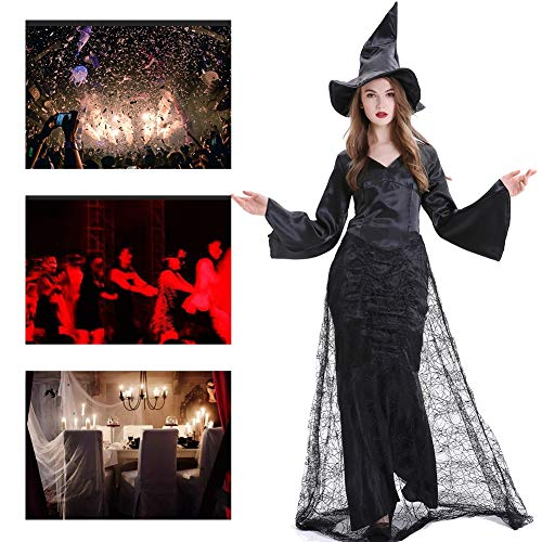 JH&MM Halloween Kostüm Damen Schwarz Wicked Witch Spider Silk Cloak Masquerade - Spider Witch Für Erwachsene Kostüm Damen