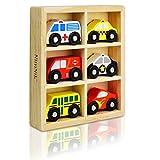 NimNik Holzspielzeug Autos School Bus Motor Notfall Fahrzeuge Pädagogisches Spielzeug für Das frühe Lernen für 2 Jahre alt