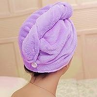 1Pieza luz morado Magic toalla de microfibra tapa hair-drying baño pañuelo para la cabeza