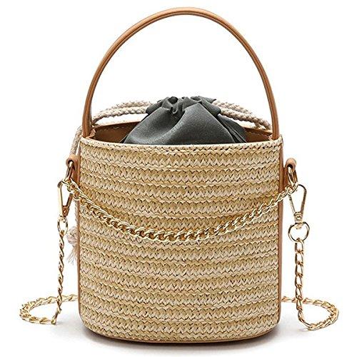 RETYLY Frauen Stroh Handtasche Tote Sommer Urlaub Woven Bucket Bag Freizeit-Kette Umhaengetasche Umhaengetasche (Khaki) -