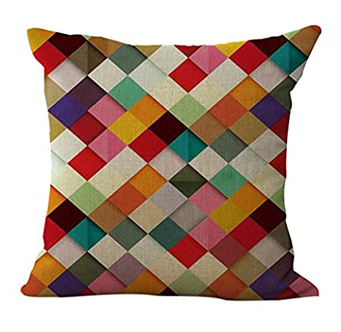 ChezMax Linen Blend Abstract Colorful Geometry Pattern Sofa Seat Cushion Cotton Square Decorative Throw Pillow Cushion 18 X 18''