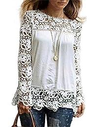 Mujeres camiseta lmmvp Fashion para mujer encaje manga larga camisa casual blusa suelta de algodón Tops