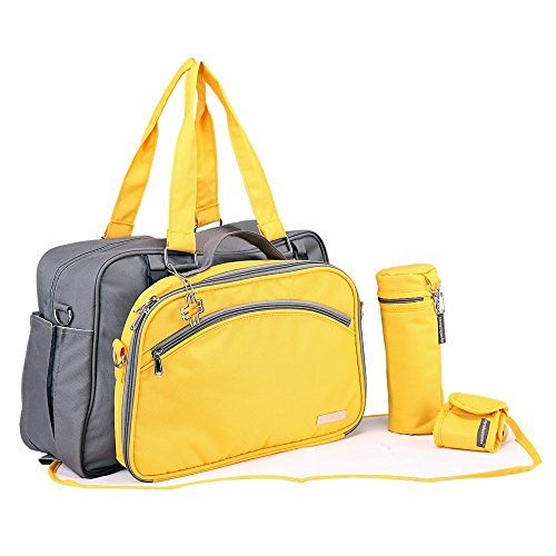 My Milestones Duo Detach Diaper Bag (Grey/Yellow)