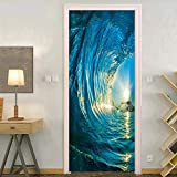 JIAER Große Blaue Welle Ocean Wall Murals Wandaufkleber Tür Aufkleber Tapete Decals Dekoration