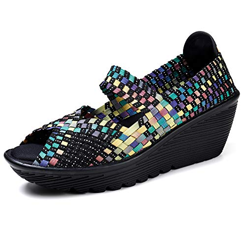 e6dd41b1fc46 HKR-SDF559caise36 Women Platform Weave Wedges Summer Mary Jane Sandals Open  Peep Toe Woven Shoes