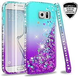 LeYi Coque Galaxy S6 Edge avec 3D Pet Protection écran [Lot de 2], Fille Personnalisé Liquide Paillette Transparente 3D Silicone Gel Antichoc Kawaii Étui pour Samsung Galaxy S6 Edge G925F Bleu Violet