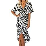 GreatestPAK - Vestito Estivo da Donna a Maniche Corte con Stampa Leopardata, Scollo a V, Orlo Irregolare B XXL