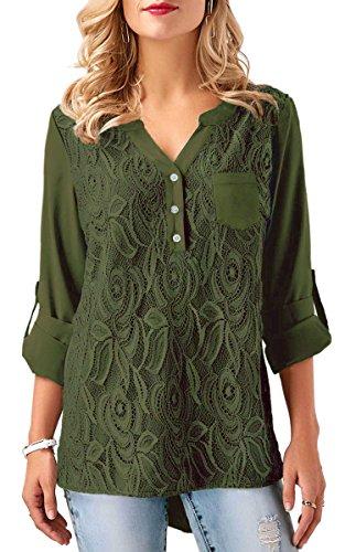 Ecowish - Camisas - para Mujer Verde Verde