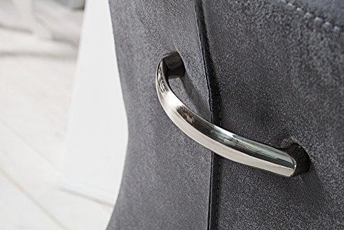 Freischwinger SAMSON mit Armlehnen Vintage Grau – gebürsteter Edelstahlrahmen - 8