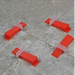 Un lot de 50pcs Clips + 50 pcs Wedges , carrelage Système de nivellement des cales et clips Spacer Plastique outils de carreleur éviter tout Mouvement lors de l'installation de carrelage