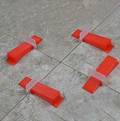 Un paquete de 100 juegos(50 Clips + 50 cuñas), sistema de nivelación de azulejos cuñas y clips espaciador plástico herramientas para evitar el movimiento durante la instalación de azulejos