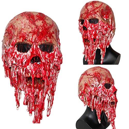 HAPPYQUDA halloween gruselig erwachsenen blutigen zombie mit latex - maske leiche (Maske Blutige)