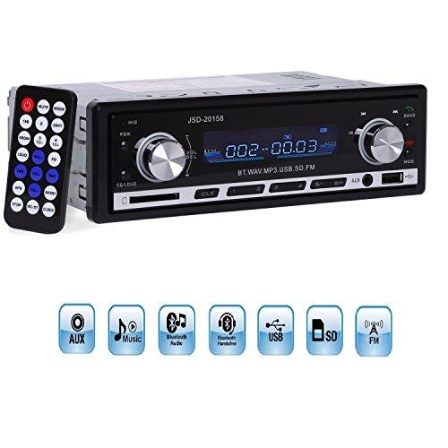 Autoradio, YOSASO Autoradio Bluetooth FM Stereo MP3 Player Audio Unterstützung SD/MM Karte, USB Key, 3,5 mm Aux mit - Verstärker Auto Digital Designs