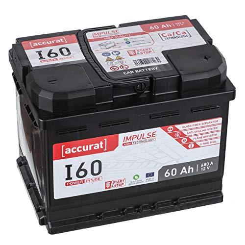 Accurat AGM Autobatterie Starter I60 12V 60Ah 680A Top-Startleistung und hohe Zyklenfestigkeit ideal für Start-Stop & Hybrid Fahrzeuge, wartungsfrei