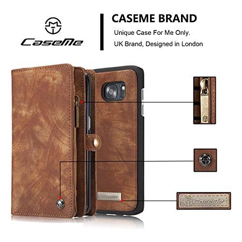 EKINHUI CaseMe abnehmbarer Reißverschluss-Mappen-Leder-Kasten für Samsung-Galaxie S7 Rand ( Color : Red ) Coffe