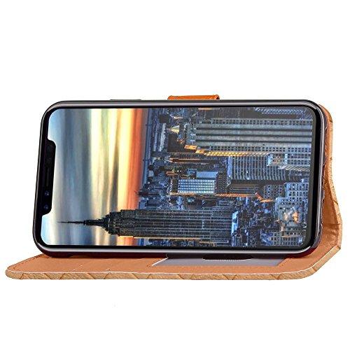 EKINHUI Case Cover Mischfarben Weberei Art PU-lederner Fall-horizontaler Schlag-Standplatz-Fall-Mappen-Geldbeutel mit Einbauschlitzen für iPhone X ( Color : Brown ) Gold
