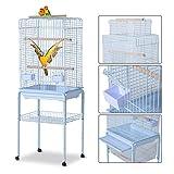 PawHut Large Metal Bird Cage w/ Breeding Stand Feeding Tray Wheels for Parrot Parakeet Macaw Pet Supply White 52L x 41W x 148H (cm)